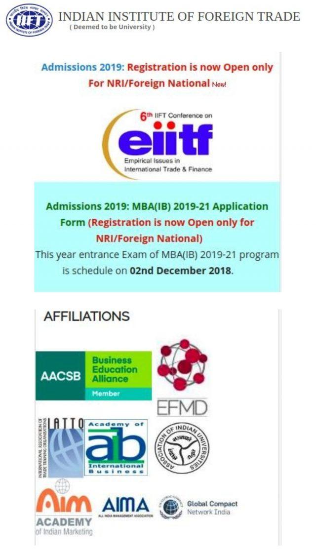 IIFT Online Registration - MBA(IB) 2019-2021 | NRI/Foreign National